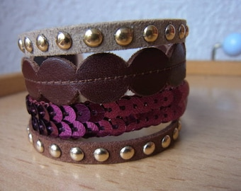 purple beige brown cuff bracelet / birthday gift / wide woman girl bracelet