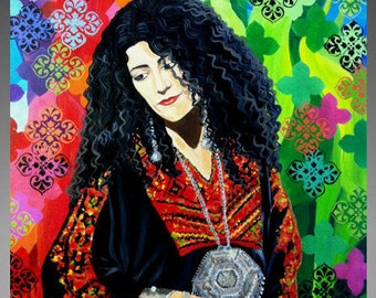 palestinan art ,Original painting , contemporary art .modern wall art , Palestinian woman custom,palestinian home decor,palestinian wall art