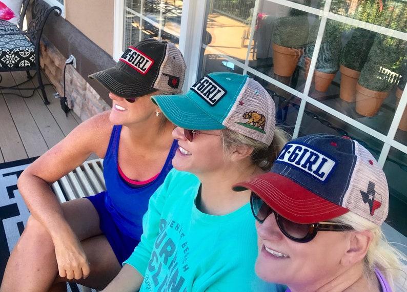 California Girl Hat Cap Cali Girl Bear Flag Trucker Cap Soft Mesh Back Legacy Headwear Baseball Cap Hat Ocean Waves Surf Surfing