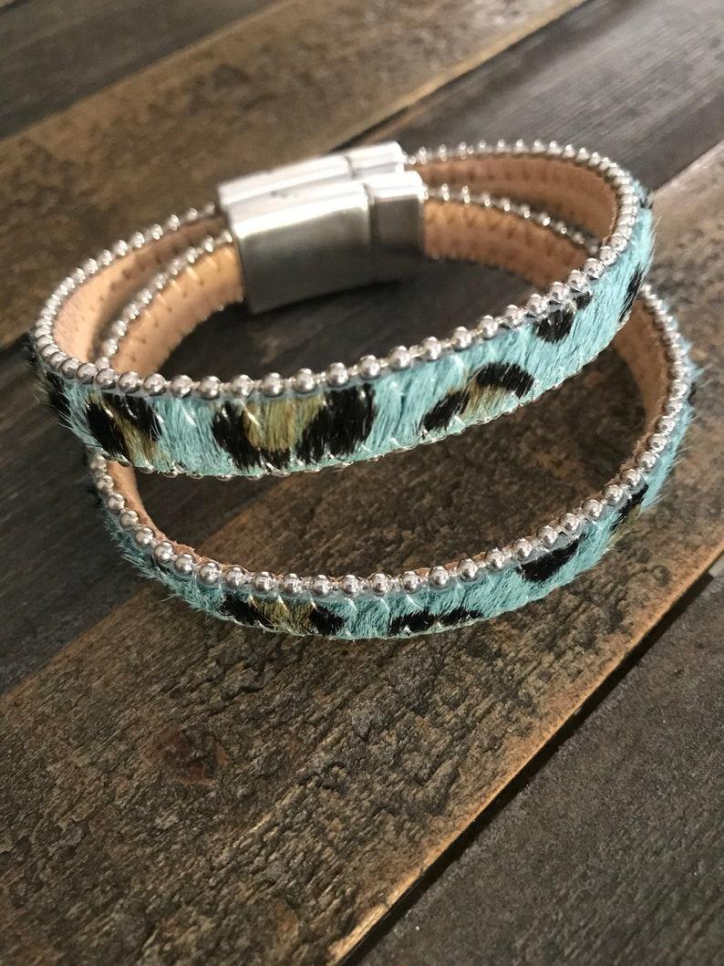 Sky Blue Leopard Calf Hair Magnetic Closure Bracelet Beach Vacation jewelry Girl