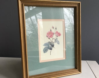 Framed and matted rose print