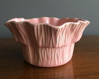 Vintage 1950's Miramar of California pink ruffled bowl / planter
