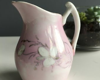 Lovely small pink pitcher | vase with white flowers and silver branches Vintage