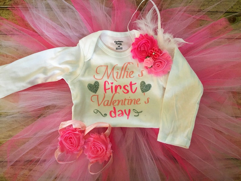 pink and white tutu photo valantines day gift Preemie Valentine/'s Day Outfit