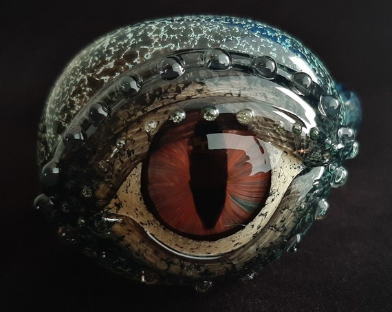 Glass Dragon Eye Pipe | UV Glow | Color Changing | Unique Functional Glass Art | Fast Shipping