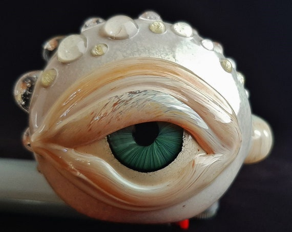 Detailed Glass Eye Pipe | UV Glow | Color Changing | Unique Glass Art | Immediate Shipping