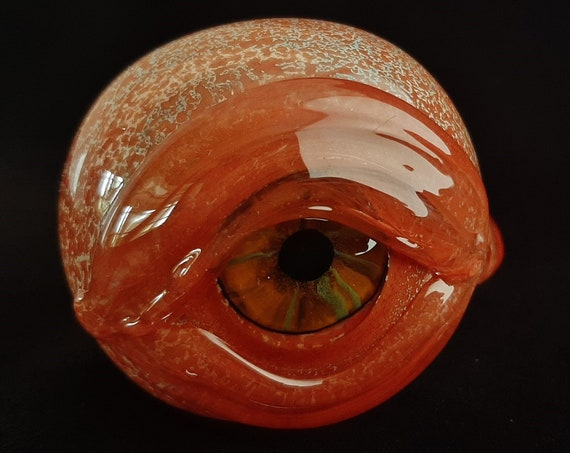 Detailed Glass Eye Pipe   Color Changing Bowl   Unique Glass Art   Free Priority Mail (Immediate Shipping)