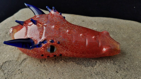 Glass Dragon Head Pipe | Hand Blown, Unique Tobacco Pipe | Stealthy Bowl | Fast Shipping