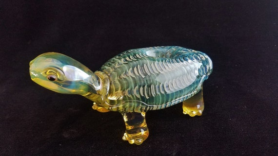 Color Changing Glass Turtle Pipe | Sculpted Glass Art Bowl | Unique Gift Idea | Free Priority Mail (within 24 hrs.)