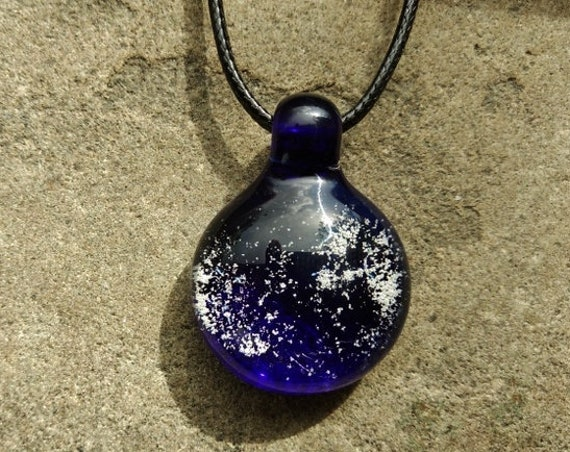 Memorial Pendant | Cremation Jewelry | Memorial Necklace | Cobalt Blue Version |