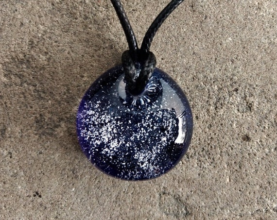 Memorial Pendant  Handblown Glass | Cremation Jewelry |  Pet Memorial Necklace | Cobalt Blue Version |