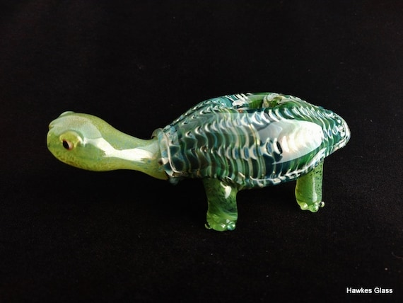 Colorful Turtle Pipe   Sculpted Glass Bowl   Color Changing   Unique Gift Idea   Immediate Priority Shipping