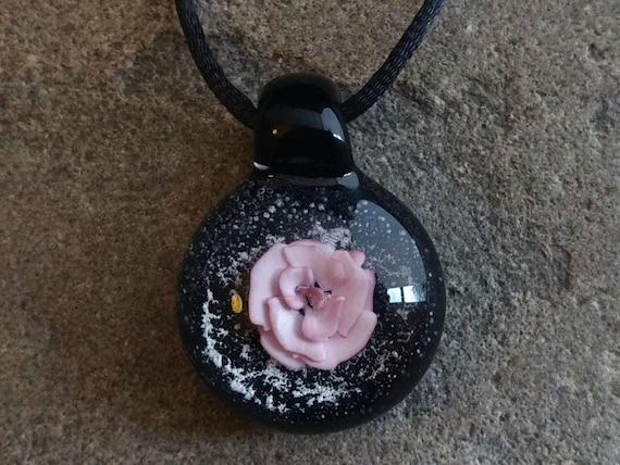Blown Glass Rose Memorial Pendant | Encased Cremation Ash | Pet Memorial | Custom Made |