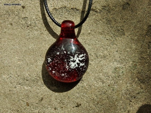 Memorial Pendant  | Cremation Jewelry | Pet Memorial Necklace | Pomegranate Red Version |