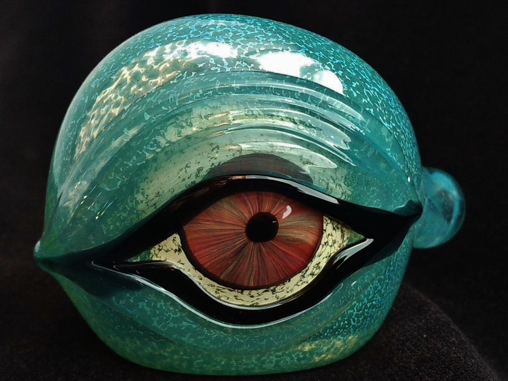 Detailed Glass Eye Pipe Color Changing Bowl Unique Glass Art Immediate Shipping