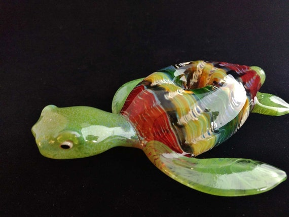 Glass Sea Turtle Pipe (Rasta Colors) | Unique Functional Glass Art | Hand Blown |
