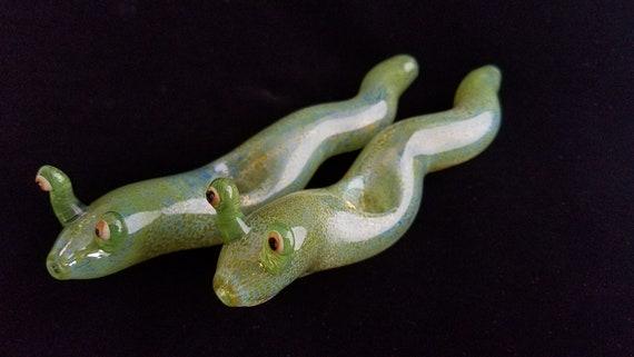 Glass Slug Pipe (Green Version)| Color Changing | Unique Glass Art | Immediate Shipping