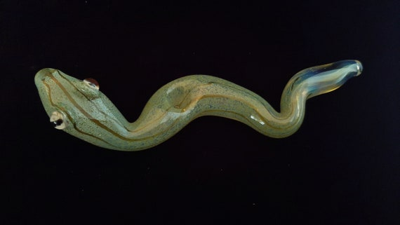 Glass Snake Pipe | Color Changing | Unique Sculpted Glass Art | Green Version | Fast Shipping |