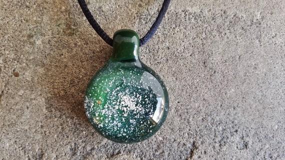 Memorial Pendant | Cremation Jewelry | Pet Memorial Necklace | Deep Green Version |