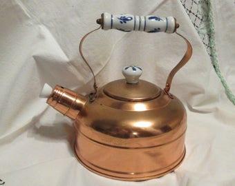 Copper Tea Kettle White Blue Ceramic Handle Boiler
