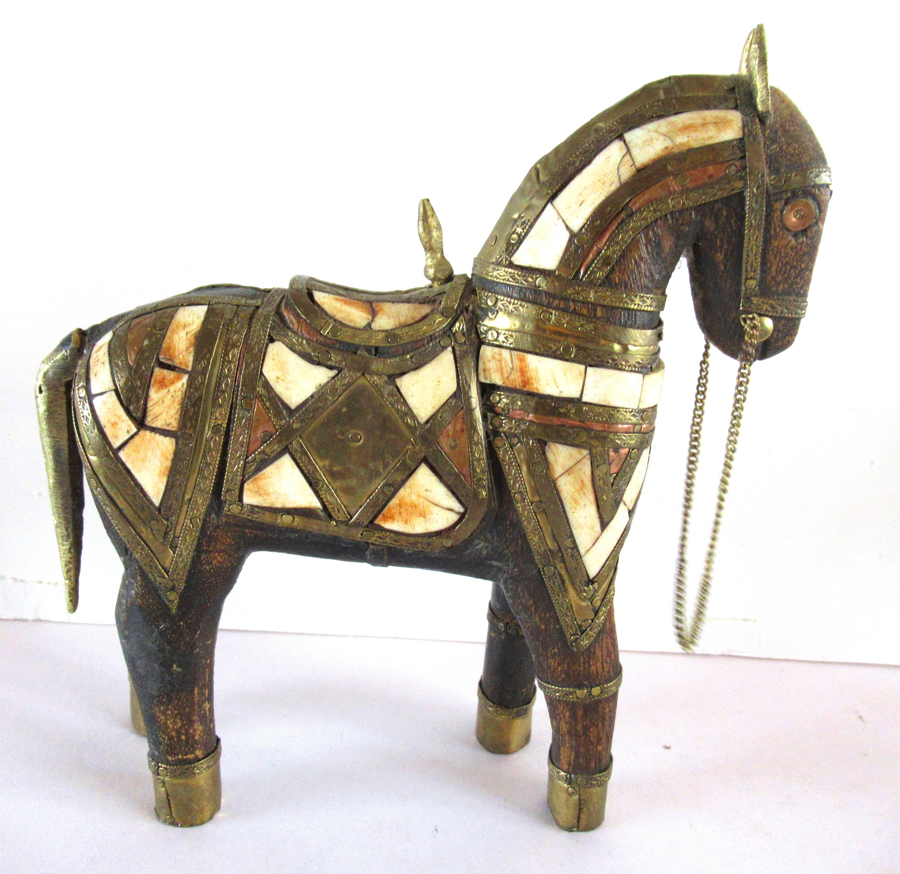 Trojan Horse Brass Copper and Rosewood w Mother of Pearl