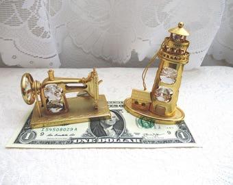 Swarovski Crystal KG & C Ornament Set of 2 Sewing Machine Light Tower Christmas Decor