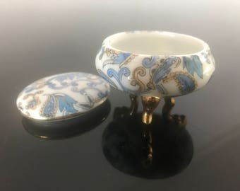 Vintage Petite Round Trinket Box Blue Paisley with Gold Trim and Three Legs