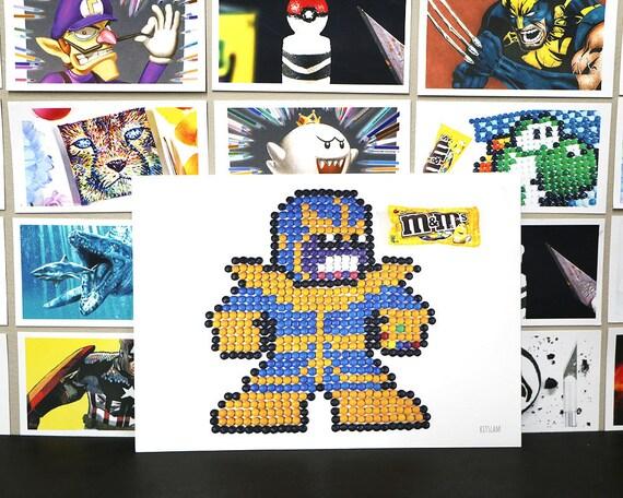 Thanos Art Print Marvel Art Pixel Art Retro Game Art 8bit Art Pixel Art Mm Art Thanos Art Art For Kids