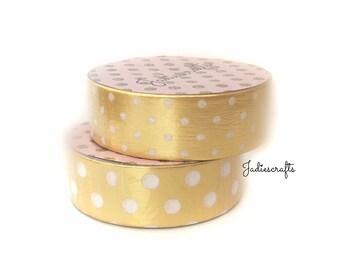 Light Gold White Large & Small Polka Dot Washi Tape