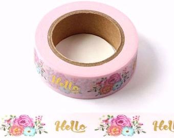 Pink & Gold Foil Floral 'Hello' Washi Tape