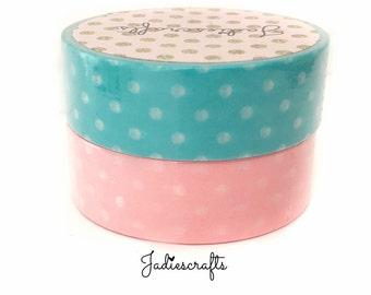 Turquoise & Pink White Small Polka Dot Washi Tape