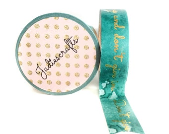 Turquoise Watercolour Foil Quote Washi Tape