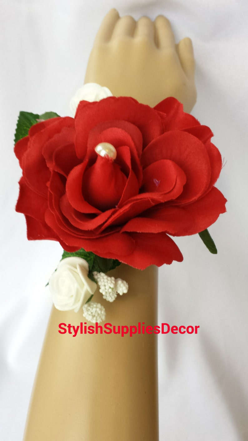 Red Wrist Corsages Red Corsage Red Wedding Corsages Red Prom Corsages Red Bridesmaid Corsages Wedding Decoration Red Wrist Flower Wrist Rose