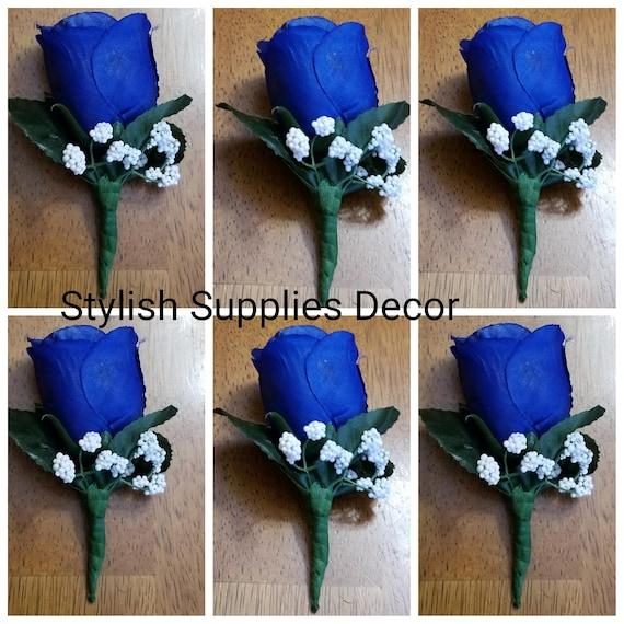 Royal Blue Boutonniere Royal Blue Corsage Royal Blue Wedding | Etsy
