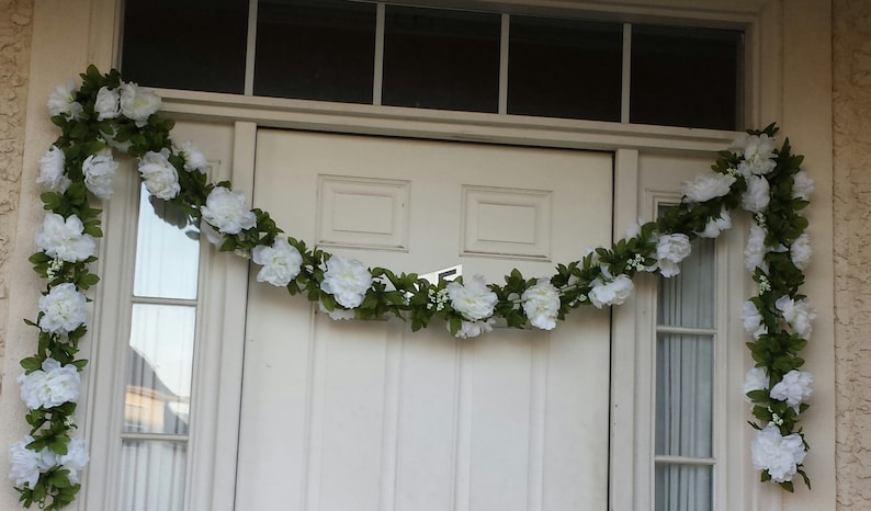 12ft White Garland and Vine White Floral Garland Silk Rose image 0
