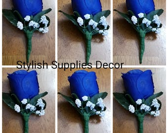 Royal Blue Boutonniere Royal Blue Corsage Royal Blue Wedding Boutonniere Royal Blue Wedding Corsage Royal Blue Wedding Accessories Groomsmen
