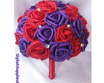 Dark Red and purple bouquet Purple and red Bouquet Purple and dark red bouquet Purple Wedding Bouquet Purple Bouquet Purple Bridal Bouquet