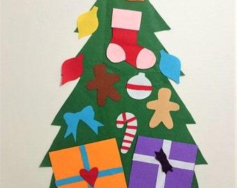 Mini felt christmas tree,kid's christmas tree,christmas decor,christmas activity,natural toys,felt tree