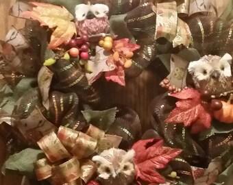 Fall wreath, Owl wreath, Brown wreath, Summer wreath