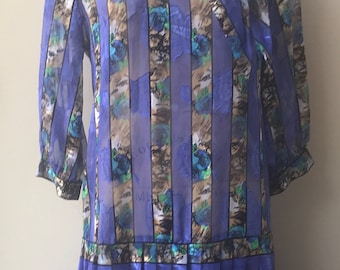 Vintage hi-V Collections Floral and Striped Pleated Dress Size XL