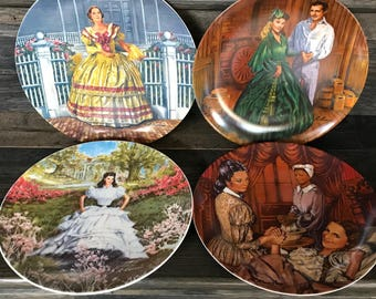Vintage Gone with the Wind Plates (Set of four), Vintage Plates, Collector Plates, Gone with the Wind