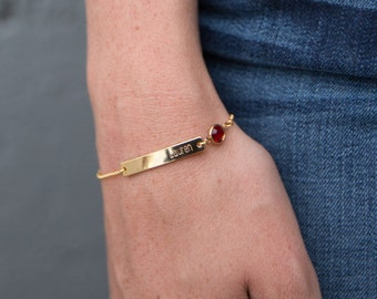 Bridesmaid Birthstone Bracelet - Birthstone Bar Bracelet Gold
