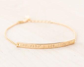 Coordinate Bracelet - Coordinates Bracelet - Custom Coordinate Bar Bracelet - Thin Gold Bar Bracelet - Latitude Longitude Jewelry