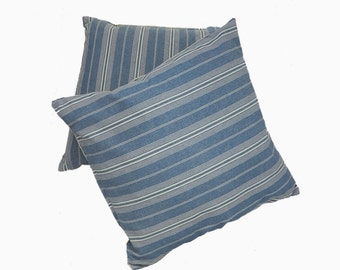 2 French Pillows Handmade Accent Cushions Throw pillow Vintage Fabric Blue & White