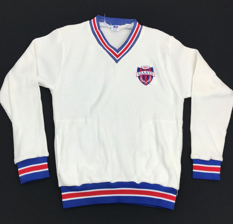 huge selection of 9ec87 19549 Vintage Russell New York Giants Sweater Men's Size Medium V Neck NFL Waffle  Knit Thermal Sz M Champion Sweatshirt Pullover NFL Adult Unisex