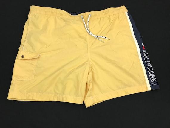 VINTAGE Tommy Hilfiger Swim Trunks Board Shorts Adult Large Blue Flag Mens 90s