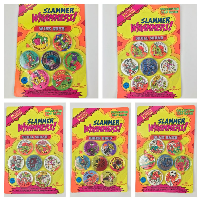 Vintage Slammer Whammers! Pog Sets Milk Cap Toys 1994 Imperial 90's Brand  New Factory Sealed 24 Caps 2 Slammers Foil Collector Game