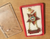 OLD Communist Work Badge from Hungary MEDAL Red Star Labor Achievement Hungarian Kivalo Dolgozo Unused New Vintage Pin Badge Medal