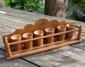 EGG or Shot CUP Rack Hand Made Wooden Jar, Herbs, Spices Rack Storage Shelf, Hand Carved Floral Art, Hungarian FOLK Art, Kitchen Decor x 6