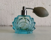 BEAUTIFUL Hand Made Cut Glass Perfume bottle with Puff.  Vintage fragrance refill.  Vanity decor gift aqua blue.  Dressing table ornament